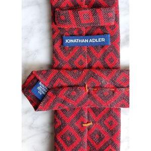 JONATHAN ADLER Linen Skinny Tie- Geometric Print